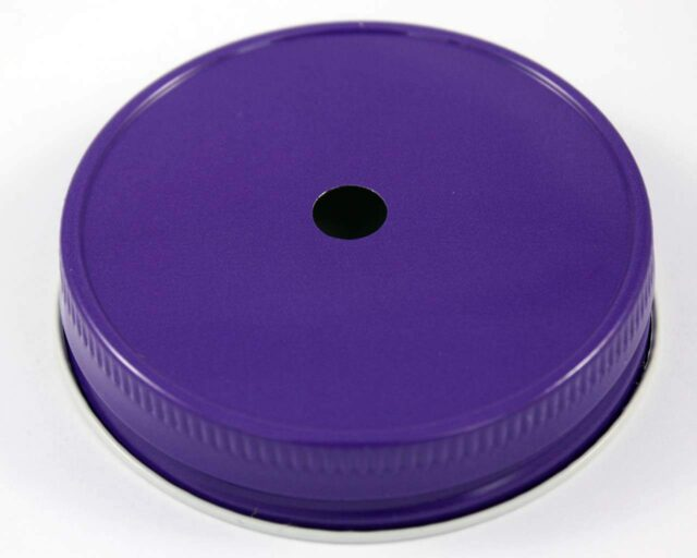 Purple straw hole tumbler lid for regular mouth Mason jars