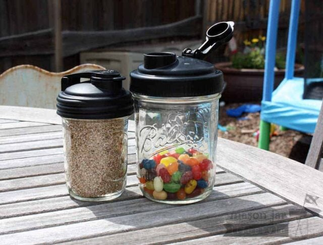 reCAP black lids for Mason jars with sesame seeds and jelly beans