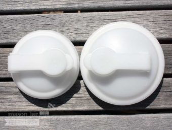reCAP white pour spout lids for regular and wide mouth Mason jars