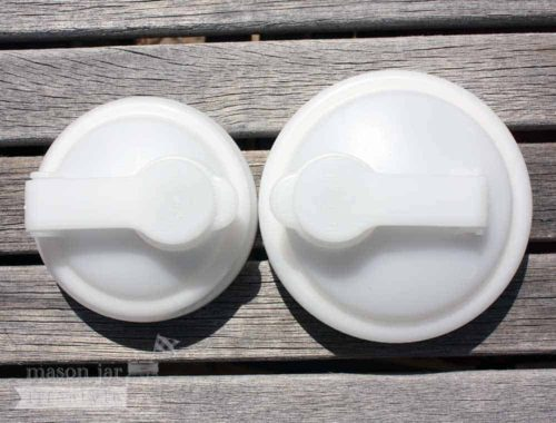 reCAP white pour spout lids for regular and wide mouth Mason jars