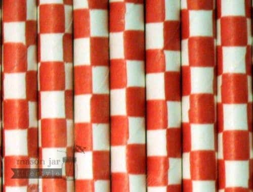 Red #3 Checkered Biodegradable Paper Party Straw