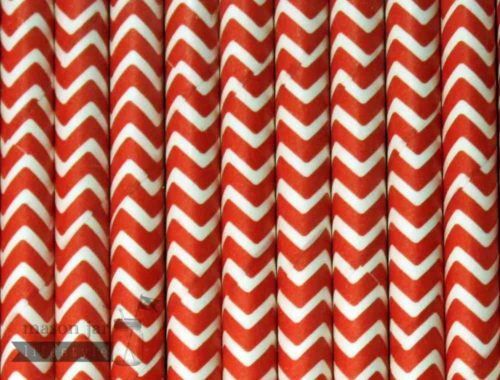 Red #5 Chevron Biodegradable Paper Party Straw