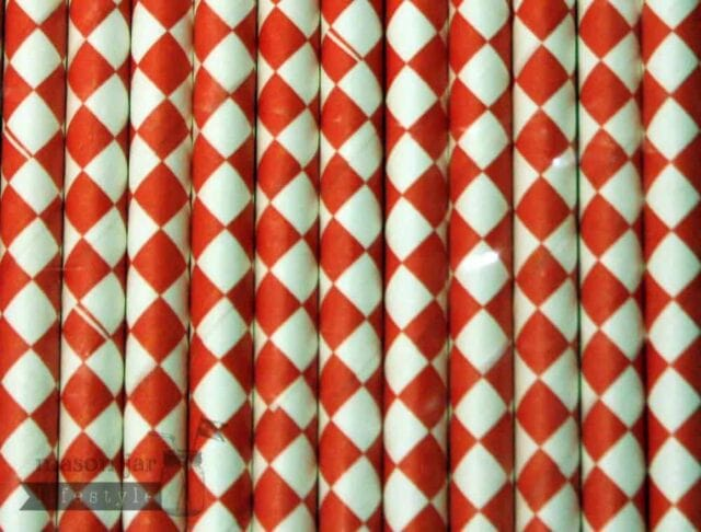Red #7 Diamonds Biodegradable Paper Party Straw