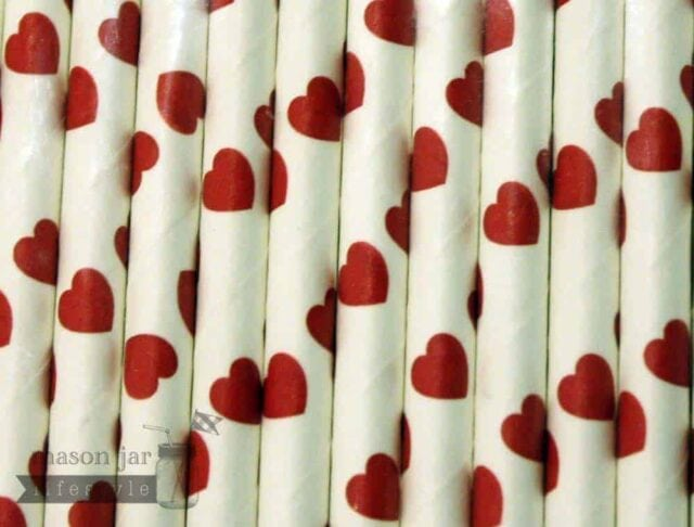 Red #9 Hearts Biodegradable Paper Party Straw