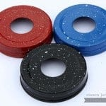 Red, blue, black speckled Mason jar soap pump dispenser lid adapter