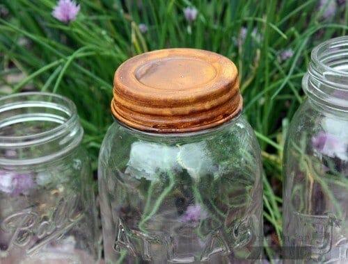 Rusted vintage reproduction lid on Atlas Mason jar