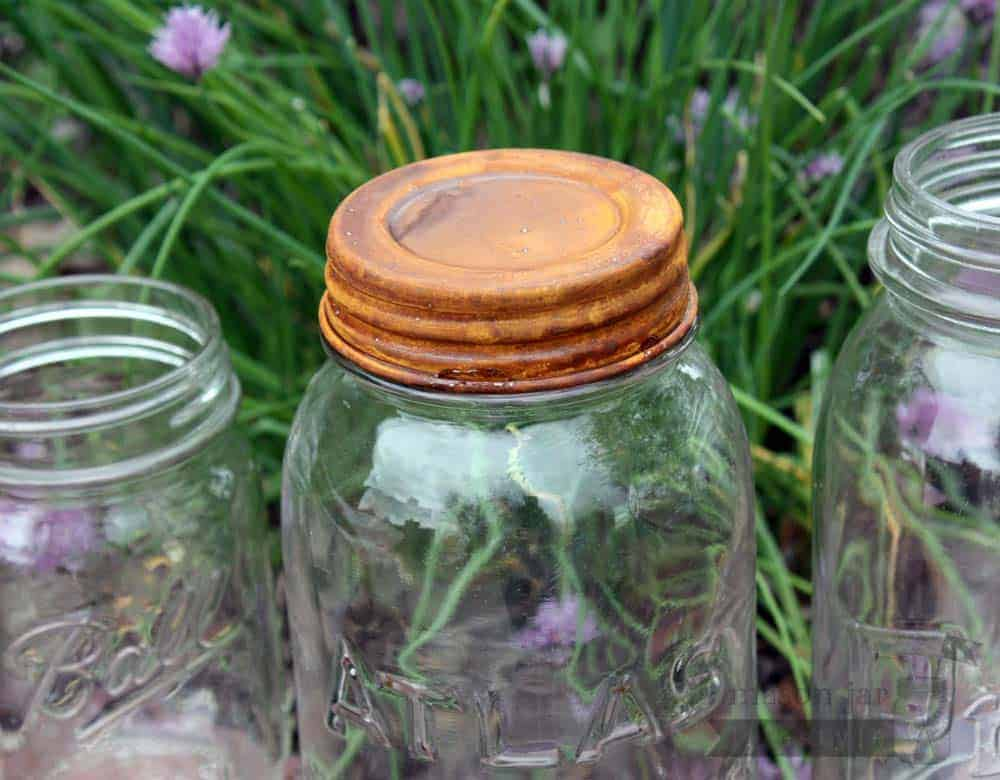 Rusted Vintage Reproduction Mason Jar Lids 4 Pack