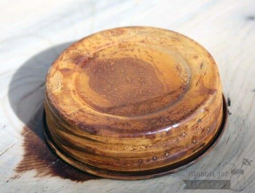Rusted vintage reproduction Mason jar lid side