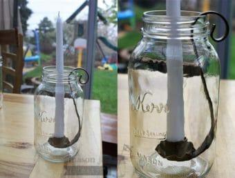 Sandstone finish taper candle holder for regular mouth quart Mason jars