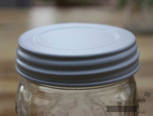 Shiny white vintage reproduction lid for wide mouth Mason jars