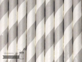 Silver #1 Candy Striped Biodegradable Paper Party Straw