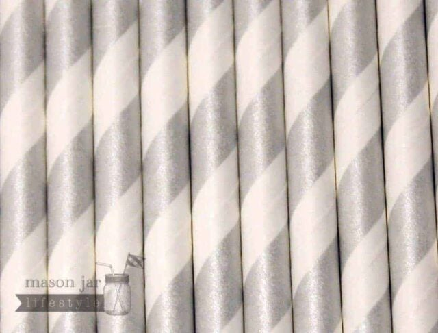 Silver #5 Candy Striped Biodegradable Paper Party Straw