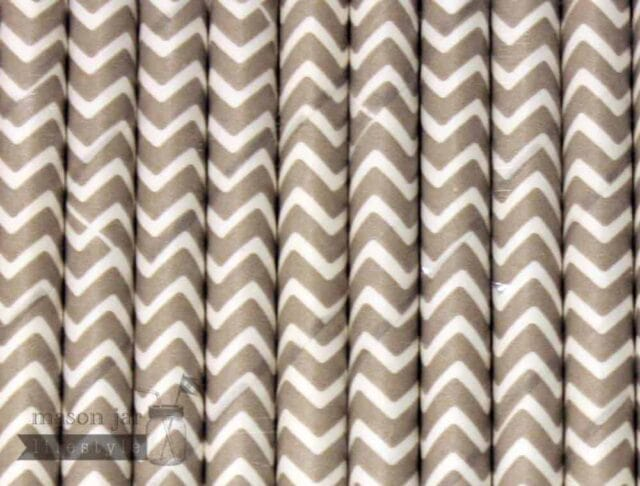 Silver #6 Chevron Biodegradable Paper Party Straw
