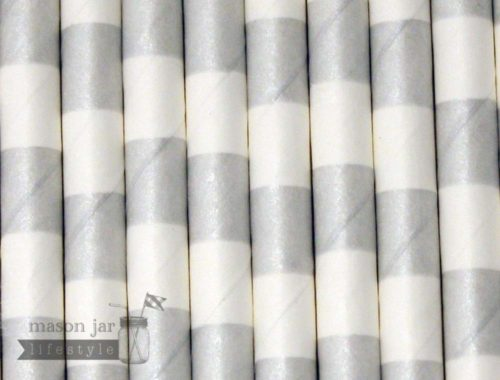 Silver #7 Horizontal Striped Biodegradable Paper Party Straw