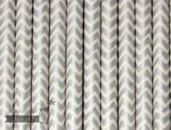 Silver #8 Chevron Biodegradable Paper Party Straw