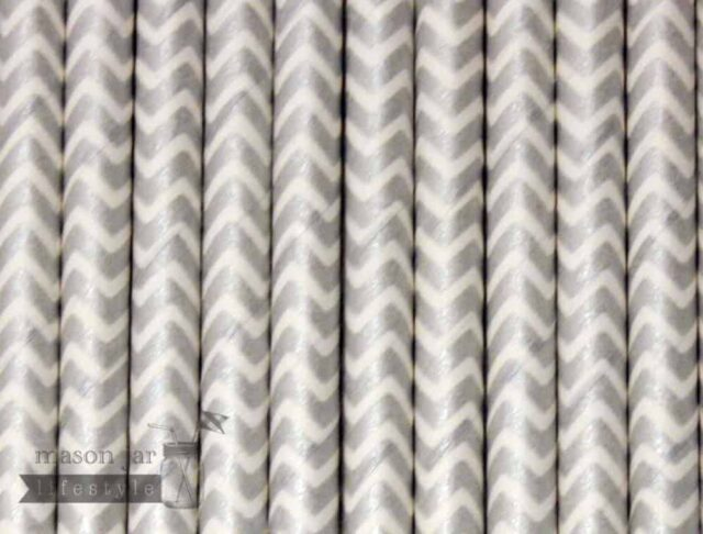 Silver #8 Chevron Biodegradable Paper Party Straw