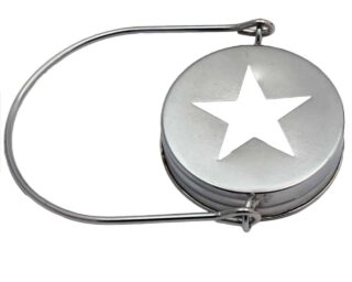 Silver star cut hanging lid for regular mouth Mason jars