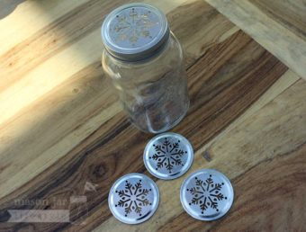 Metal snowflake lid insert for regular mouth Mason jars 4 pack