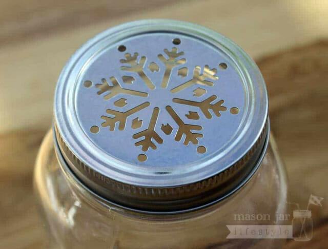 Metal snowflake lid insert for regular mouth Mason jars