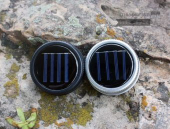 Solar light lids in black and silver for regular mouth Mason jars