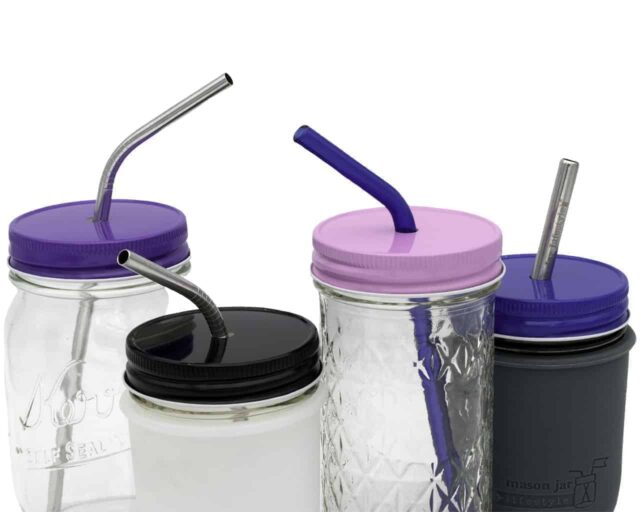 solid-color-straw-hole-tumbler-lids-regular-mouth-mason-jars-pink-purple-blue-black-metal-glass-straws-ball-kerr