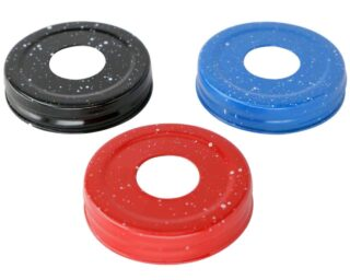 Speckled soap lids for regular mouth Mason jars in black, blue, and red