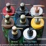 8 styles of gold, bronze, and copper stainless steel soap dispenser pumps for Mason jars, DIY, or replacement