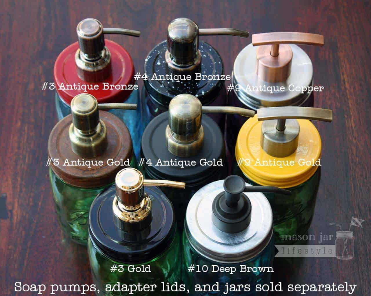 Gold and Bronze Finish Soap Pump Dispensers for Mason Jars