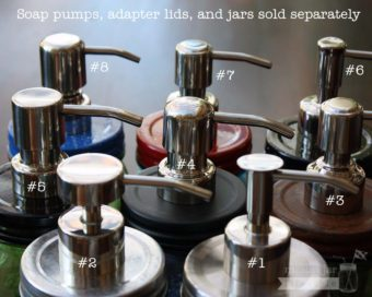 8 styles of mirror / chrome finish stainless steel soap pump dispensers on Ball Mason jars with lid adapters