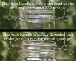 Stainless steel wire handles for Mason jars - where to place the wire on the jar