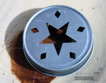 Star cutout lid for regular mouth Mason jars