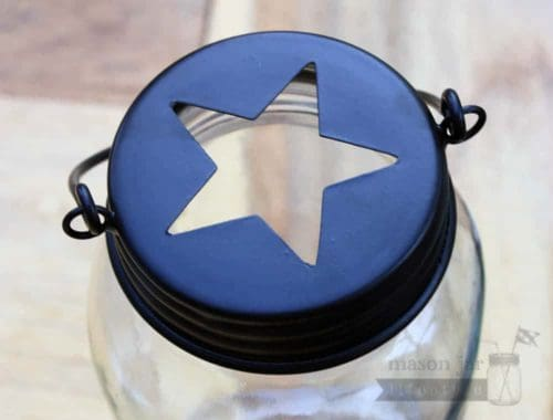 Star cutout handle lid for regular mouth Mason jars