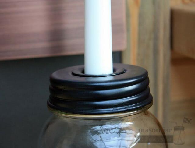 Black metal taper candle holder lid for regular mouth Mason jars