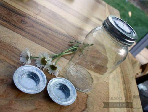 Tea light holder lid inserts for regular mouth Mason jars 3 pack