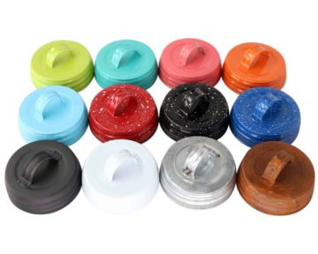 Handle / Canister lids for regular mouth Mason jars in 12 colors