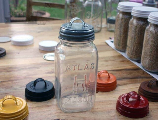 6 colors vintage reproduction handle lids for regular mouth Mason jars