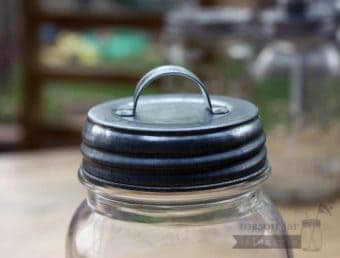 Galvanized metal vintage reproduction handle lid for regular mouth Mason jars