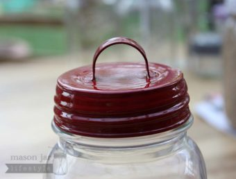 Red vintage reproduction handle lid for regular mouth Mason jars