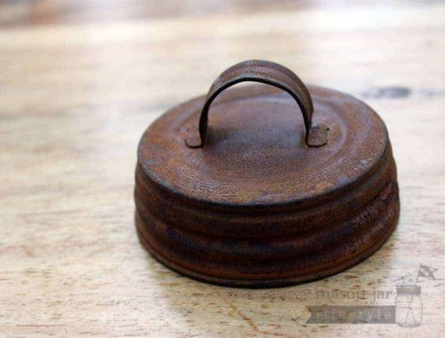 Rusted vintage reproduction handle lid for regular mouth Mason jars