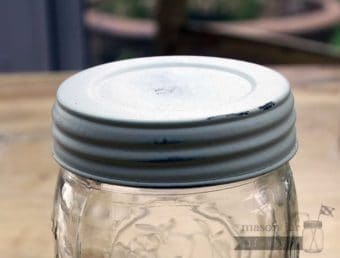Distressed white vintage reproduction lid for wide mouth Mason jars