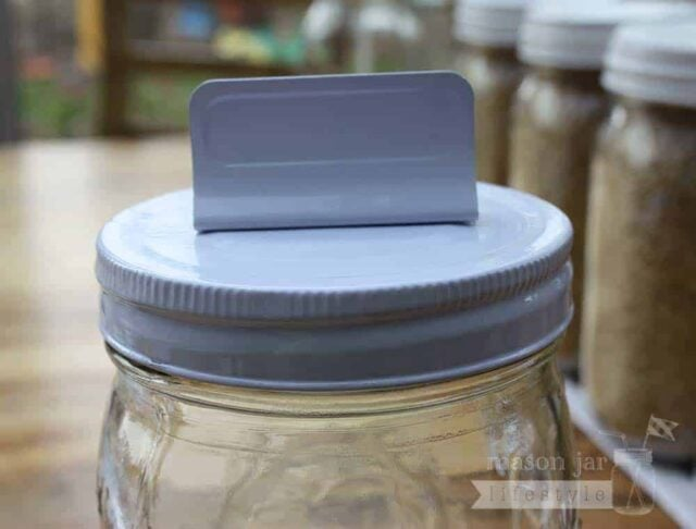 White card holder clip lid for regular mouth Mason jars