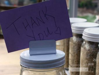 White card holder clip lid with Thank You card for regular mouth Mason jars