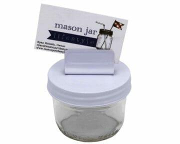 white-card-holder-clip-lid-wide-mouth-kerr-mason-jar-business-card