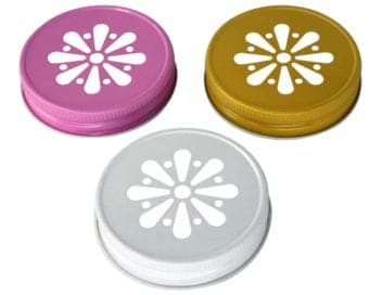 Pink, white, and yellow daisy flower cut out lids for regular mouth Mason jars
