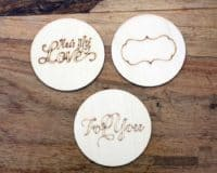 Wood burned lid inserts for wide mouth Mason jars 3 pack