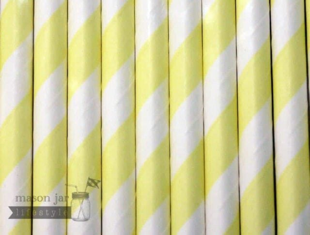 Yellow #1 Candy Striped Biodegradable Paper Party Straw