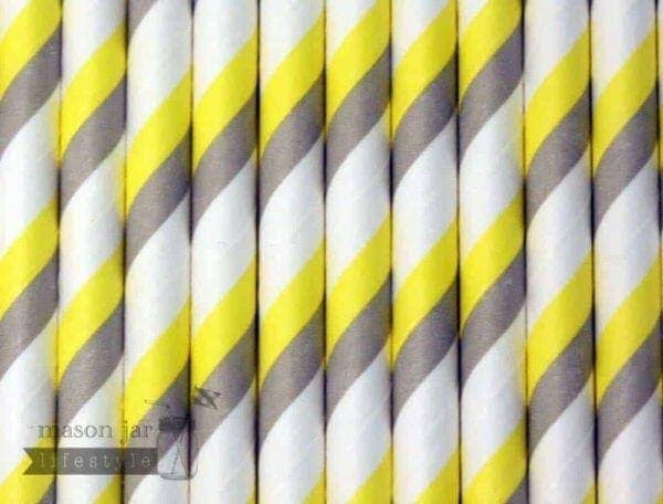 Yellow #3 Candy Striped Biodegradable Paper Party Straw