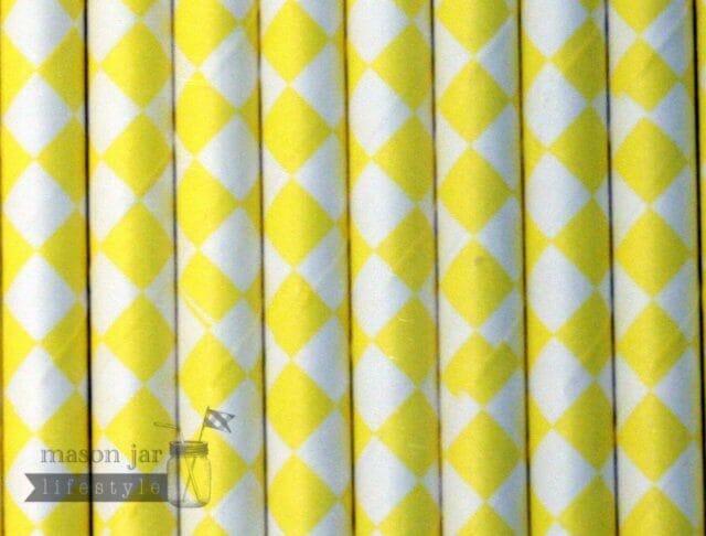 Yellow #5 Diamonds Biodegradable Paper Party Straw