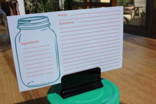 Mason jar recipe card in green clip lid