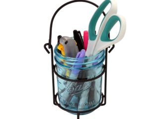One jar caddy for hanging wide mouth pint 16oz Mason jars with blue Ball jar, pens, scissors, and box cutter